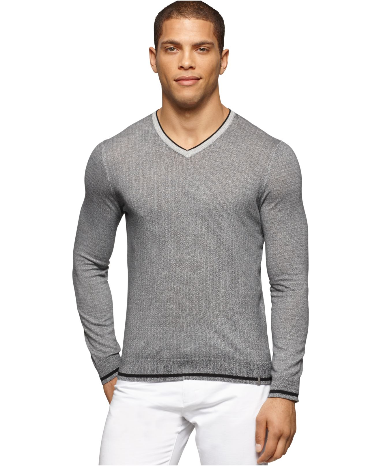 calvin klein v neck micro cable knit sweater in gray for. Black Bedroom Furniture Sets. Home Design Ideas