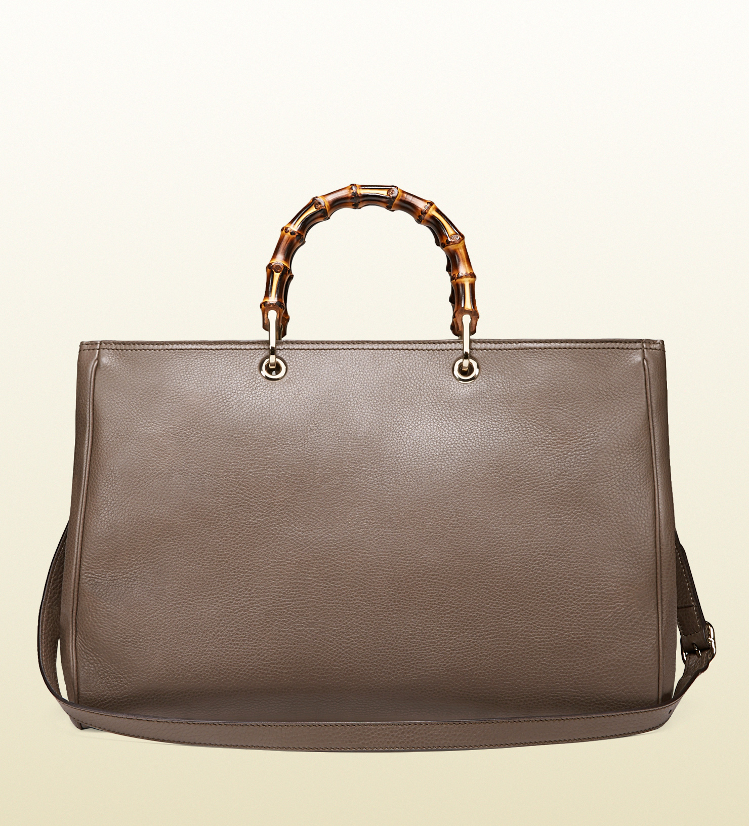 gucci bamboo shopper leather tote in brown lyst. Black Bedroom Furniture Sets. Home Design Ideas