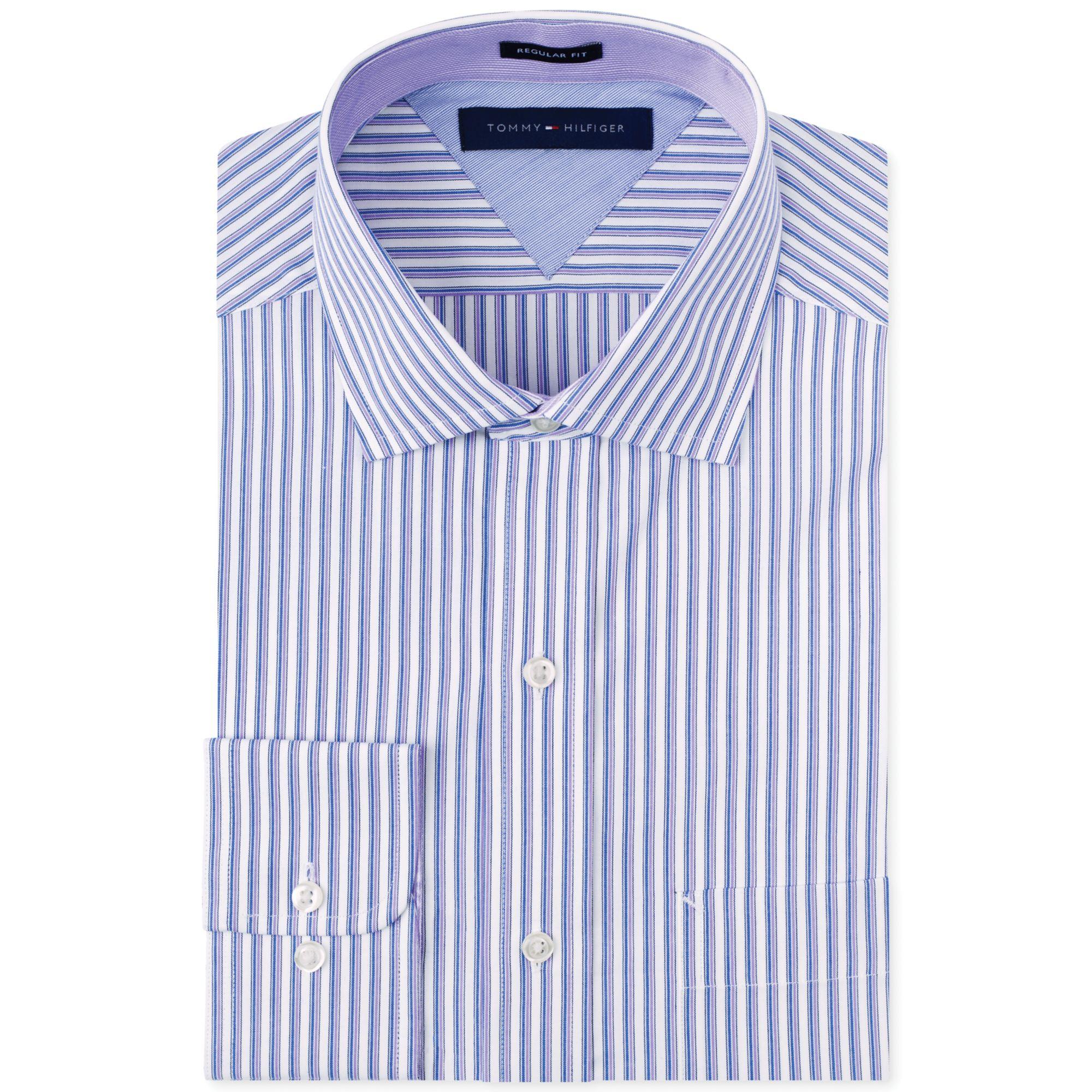Lyst tommy hilfiger purple stripe dress shirt in purple for Tommy hilfiger fitzgerald striped shirt