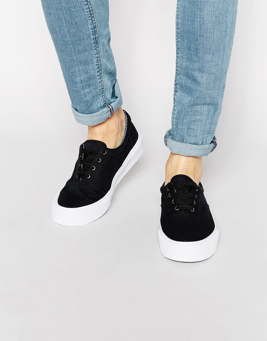 Lace Up Plimsolls In Black With Chunky Text Sole - Black Asos m8cEt