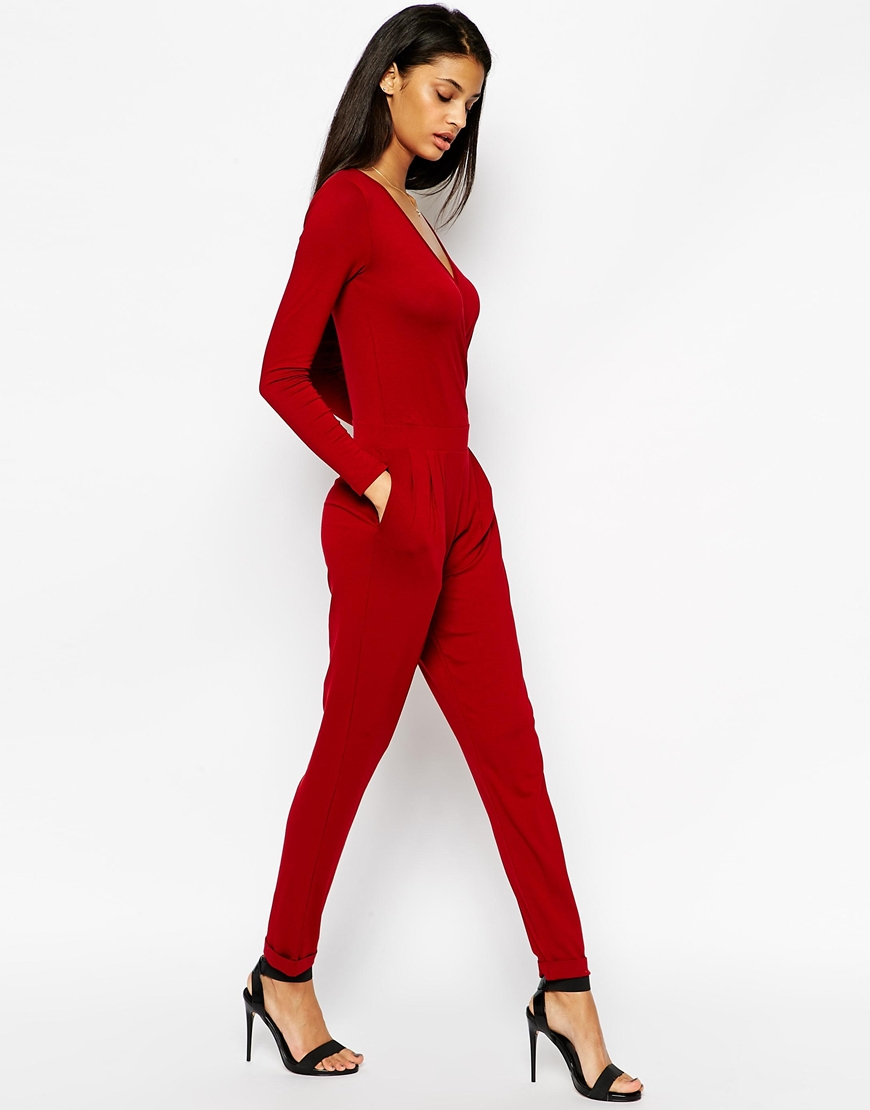 Asos Wrap Front Jumpsuit With Long Sleeves in Red | Lyst