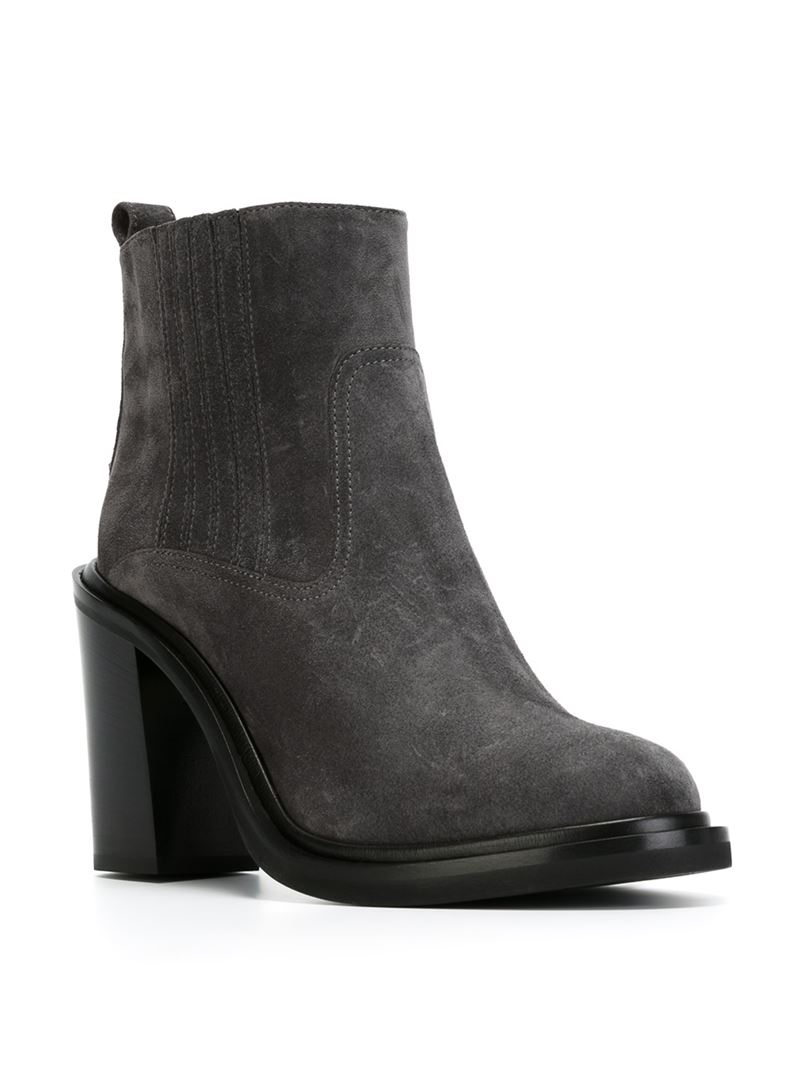 moncler chunky heel chelsea boots in gray lyst. Black Bedroom Furniture Sets. Home Design Ideas