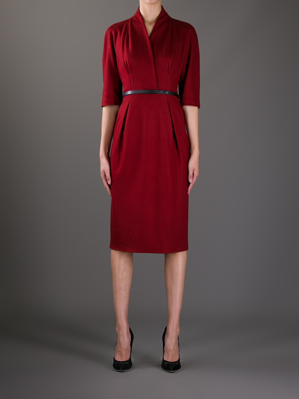 Lyst Gucci Belted Knee Length Dress In Red