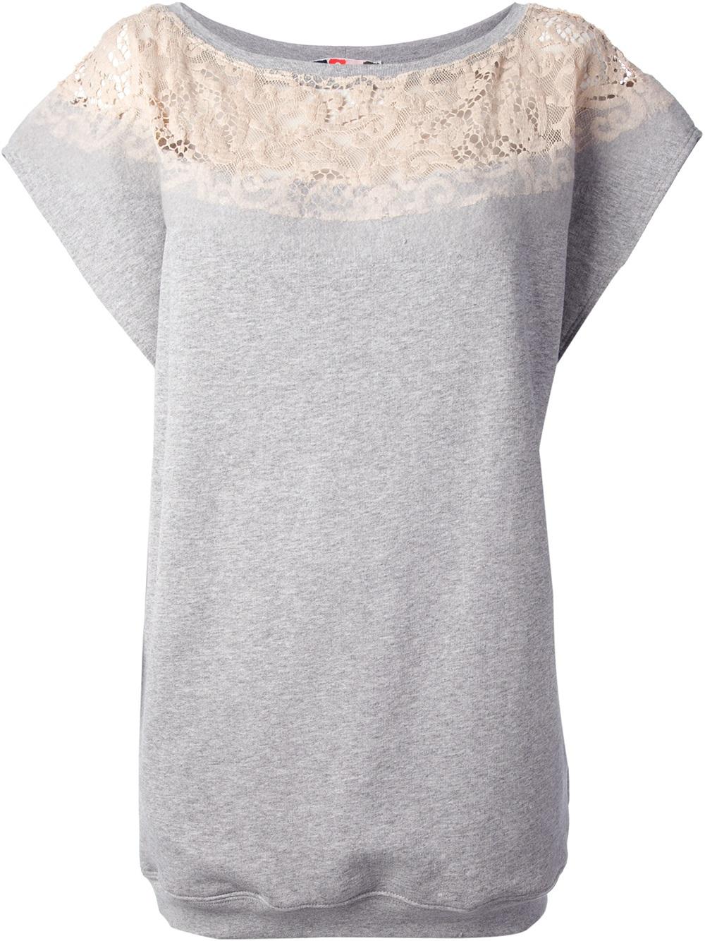 b9b84734d9 Lyst - MSGM Lace Trim Sweatshirt Dress in Gray