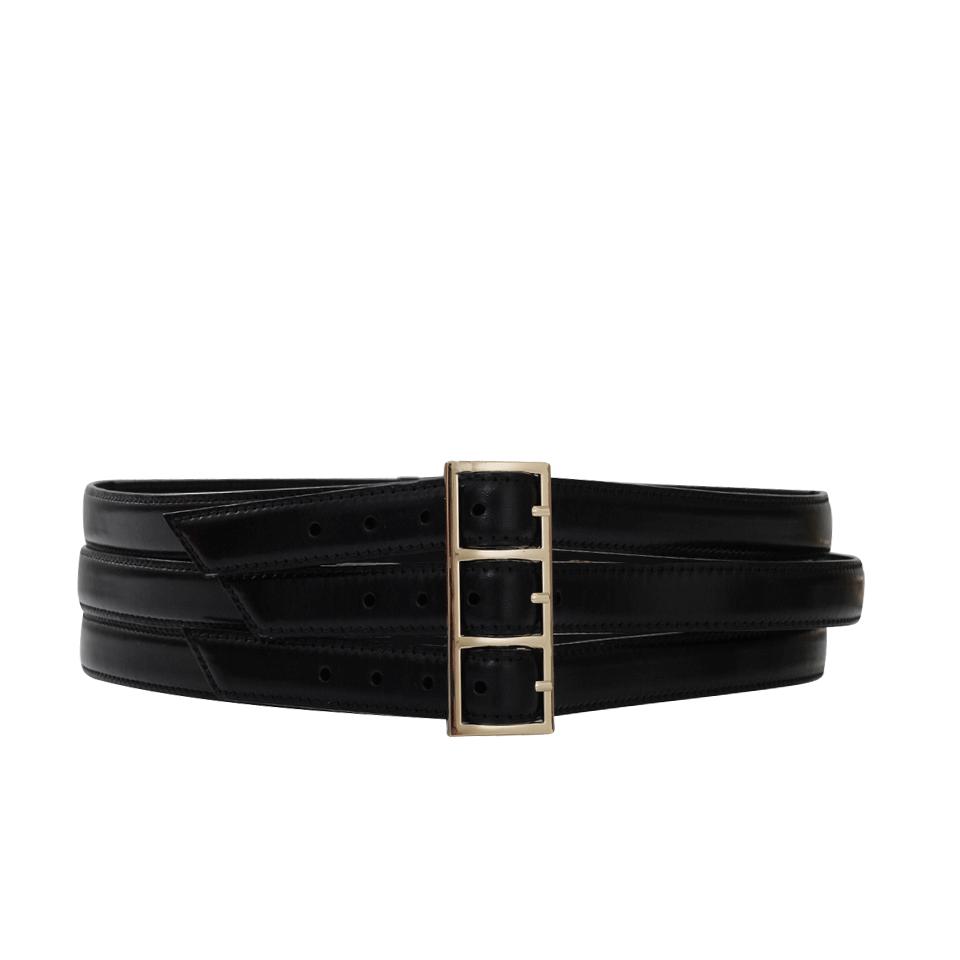 oscar de la renta buckle wide belt in black blk