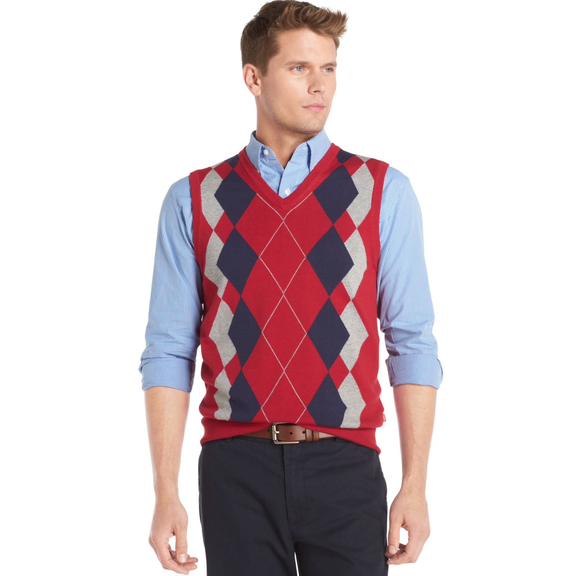 Izod Argyle Sweater Vest in Red for Men | Lyst