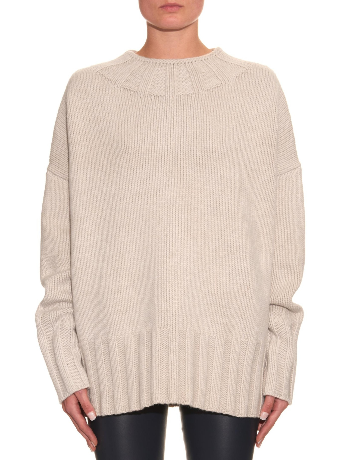The row Meme Wool And Cashmere-blend Sweater in Natural | Lyst