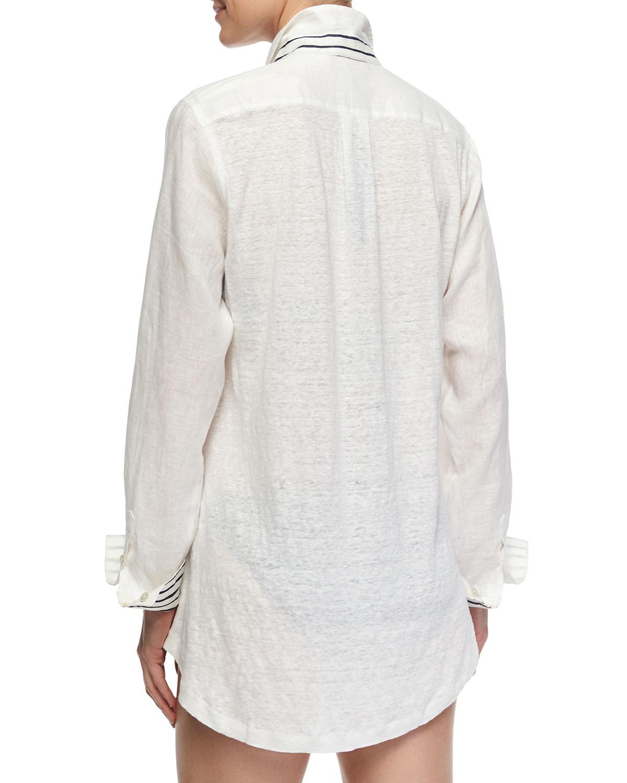 20ac3e8e6a Lyst - Tory Burch Striped-Cuff Linen Beach Blouse in White