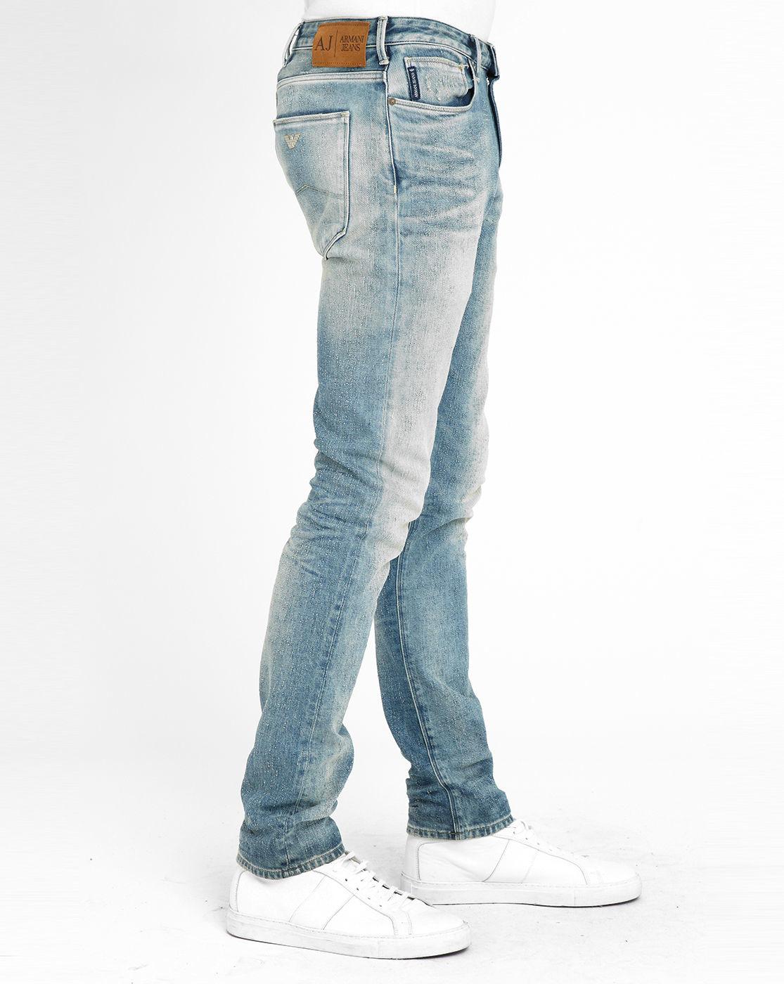 Armani Jeans Light-blue Flecked White J93 Slim-fit Jeans In Blue For Men | Lyst