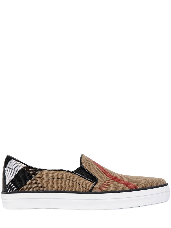 b680e7c3eada9 Burberry Gauden Macro Check Slip On Sneakers in Natural for Men - Lyst