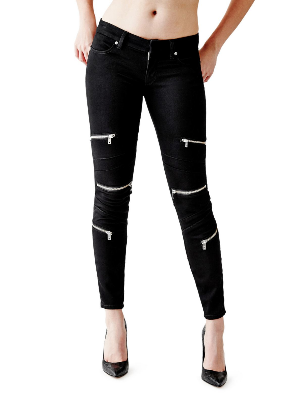 Guess Skinny Jeans With Multiple Zips in Black | Lyst