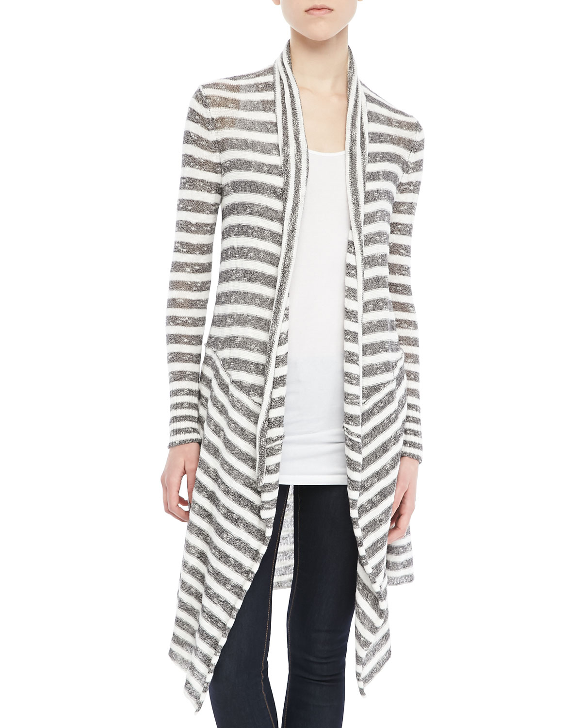 Free people Forget Me Not Long Striped Cardigan in Gray | Lyst