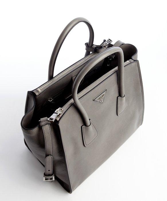 Prada Leather Handbags With Metal Handles Prada Nylon