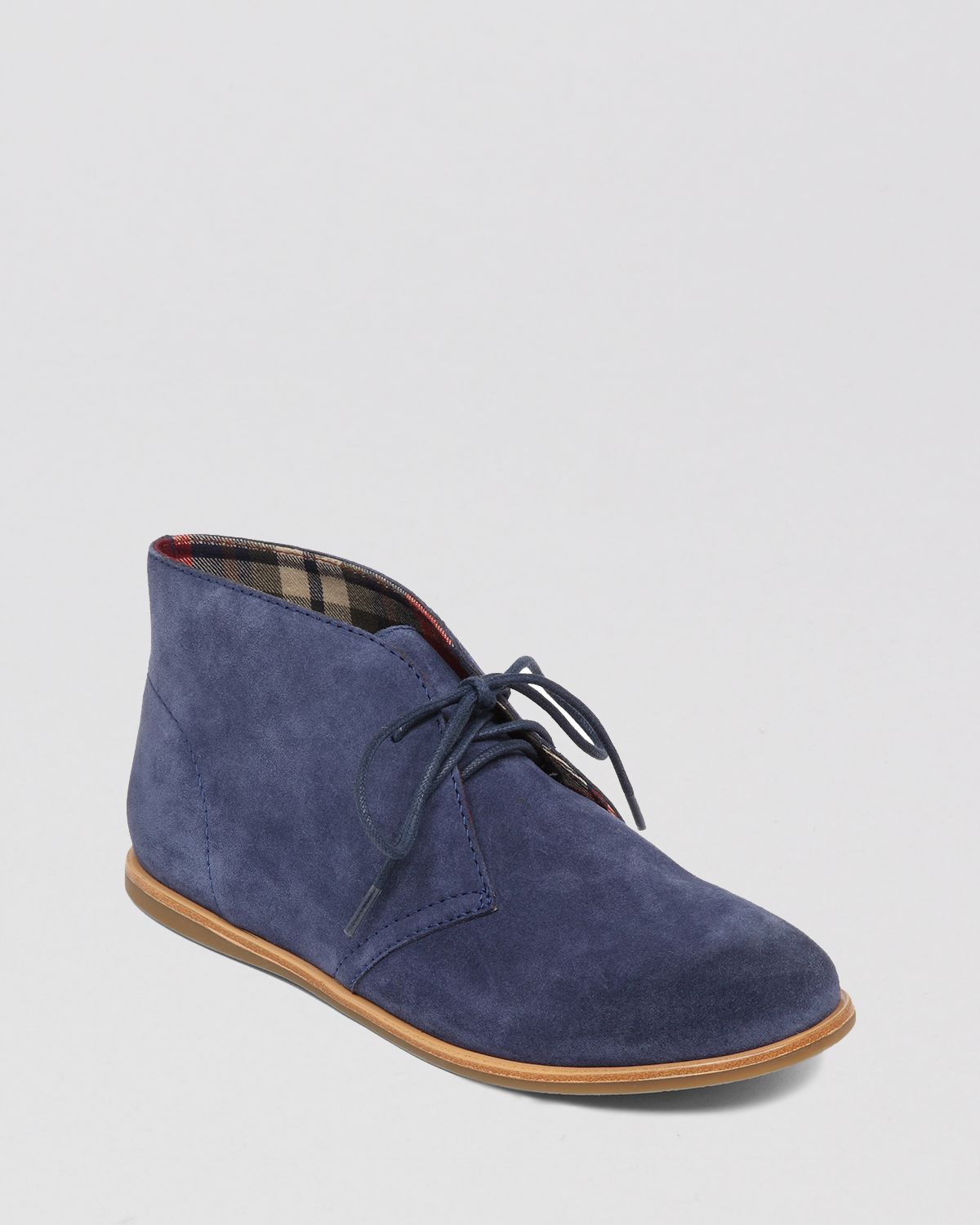 Lucky Brand Lace Up Flat Booties Asherr In Blue Moroccan