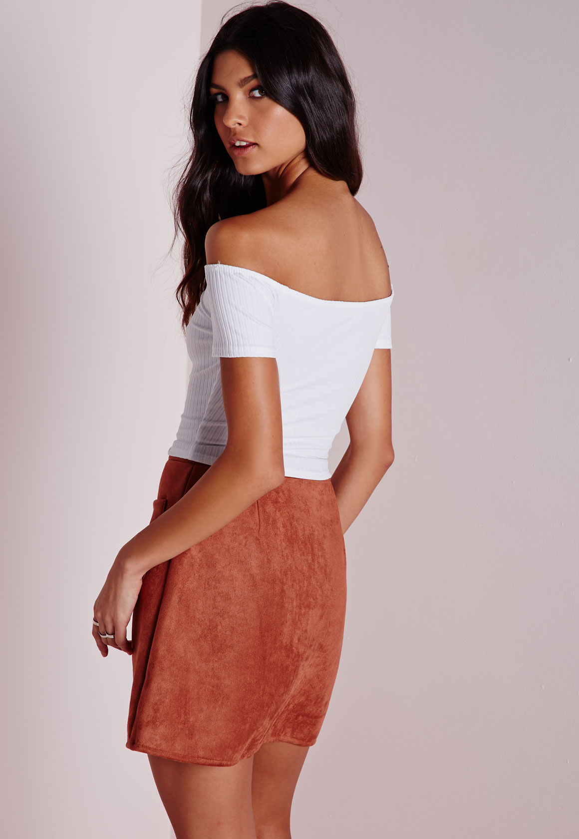 f7a7db7c90ee6 Lyst - Missguided Jumbo Rib Bardot Crop Top White in White