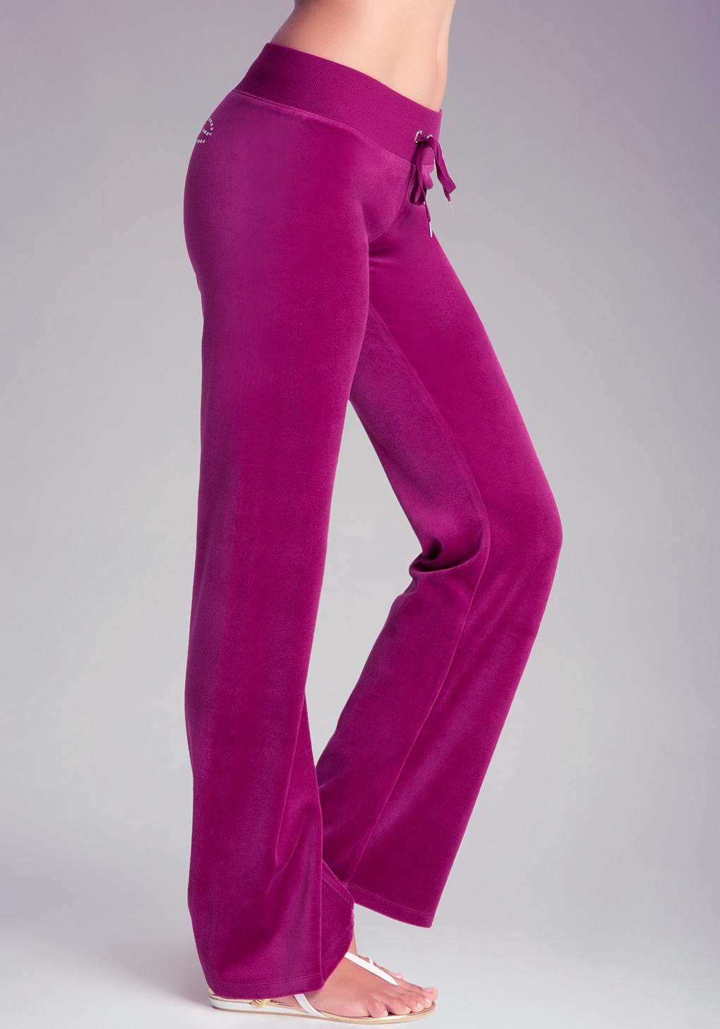 Bebe Velour Pants In Purple Lyst
