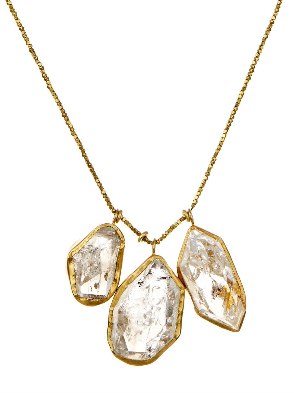 Lyst pippa small herkimer diamond quartz gold necklace in metallic gallery aloadofball Image collections