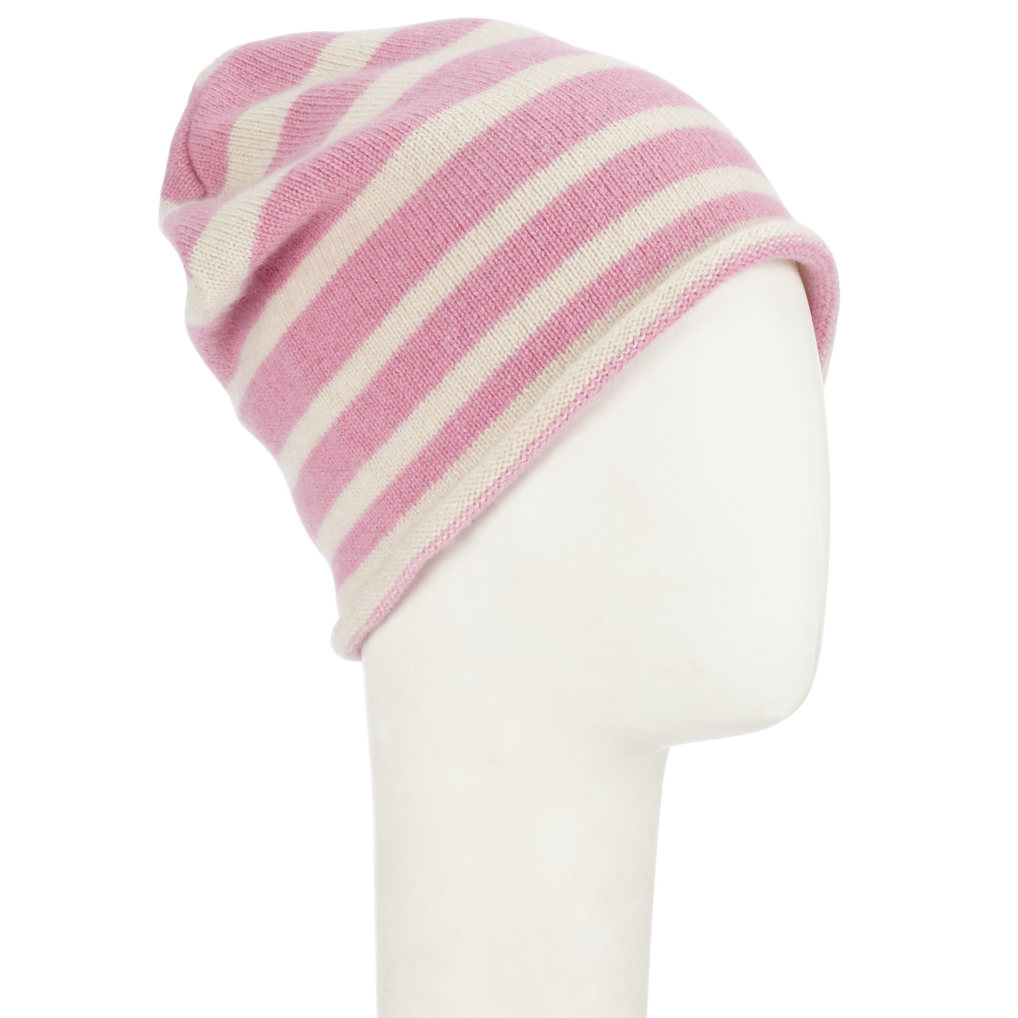 3ff496dbb7e1c John Lewis Made In Italy Cashmere Stripe Beanie Hat in Pink - Lyst