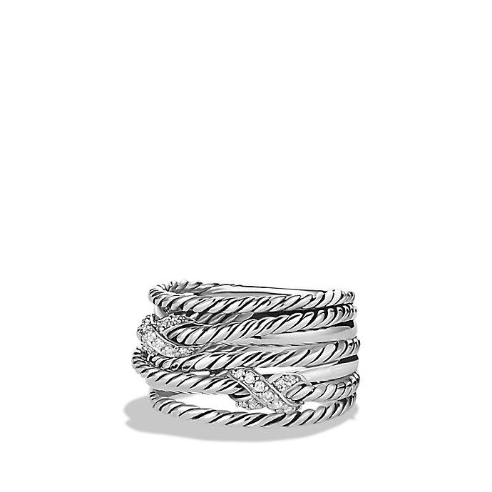 david yurman x crossover ring with diamonds in