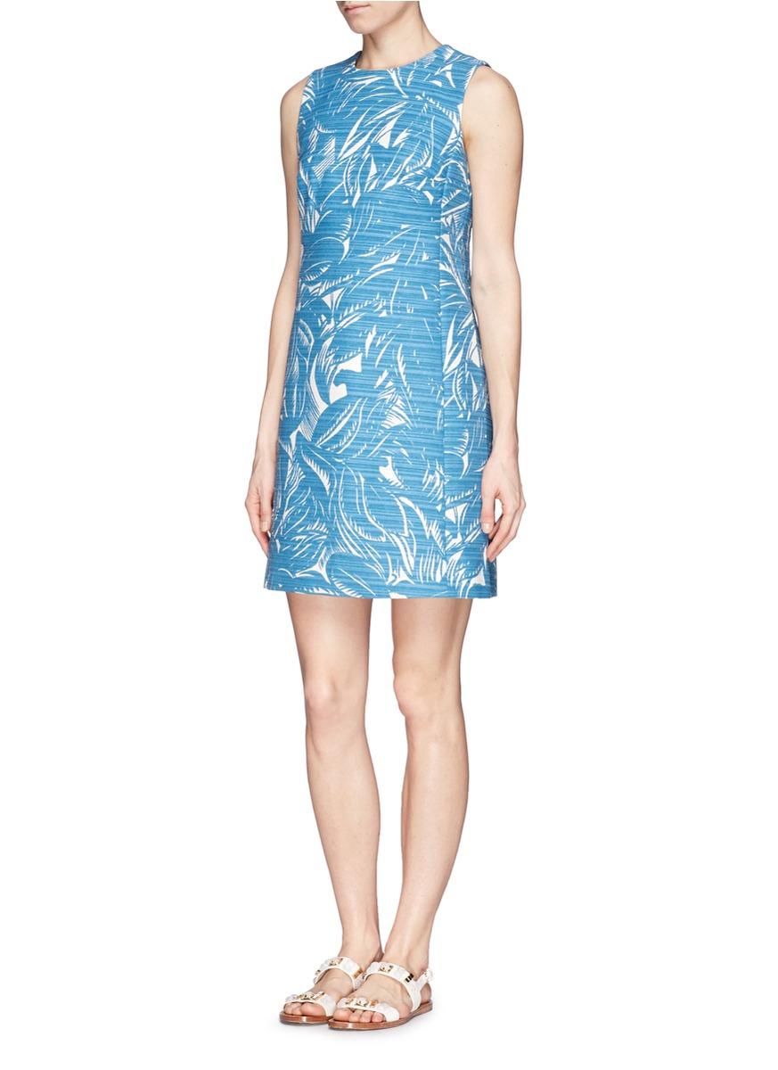 4d2e3f73a6 Lyst - Tory Burch Leaf Print Corded Cotton-Linen Dress in Blue