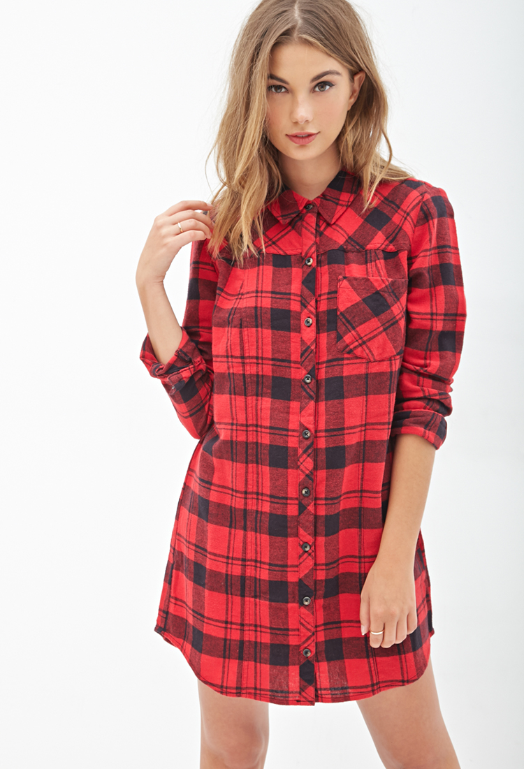 Forever 21 Tartan Plaid Flannel Shirtdress In Red Lyst