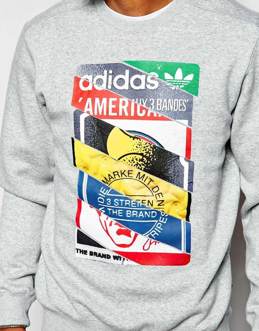 Lyst Adidas Originals Sweatshirt With Label Print Ab7688 In Gray