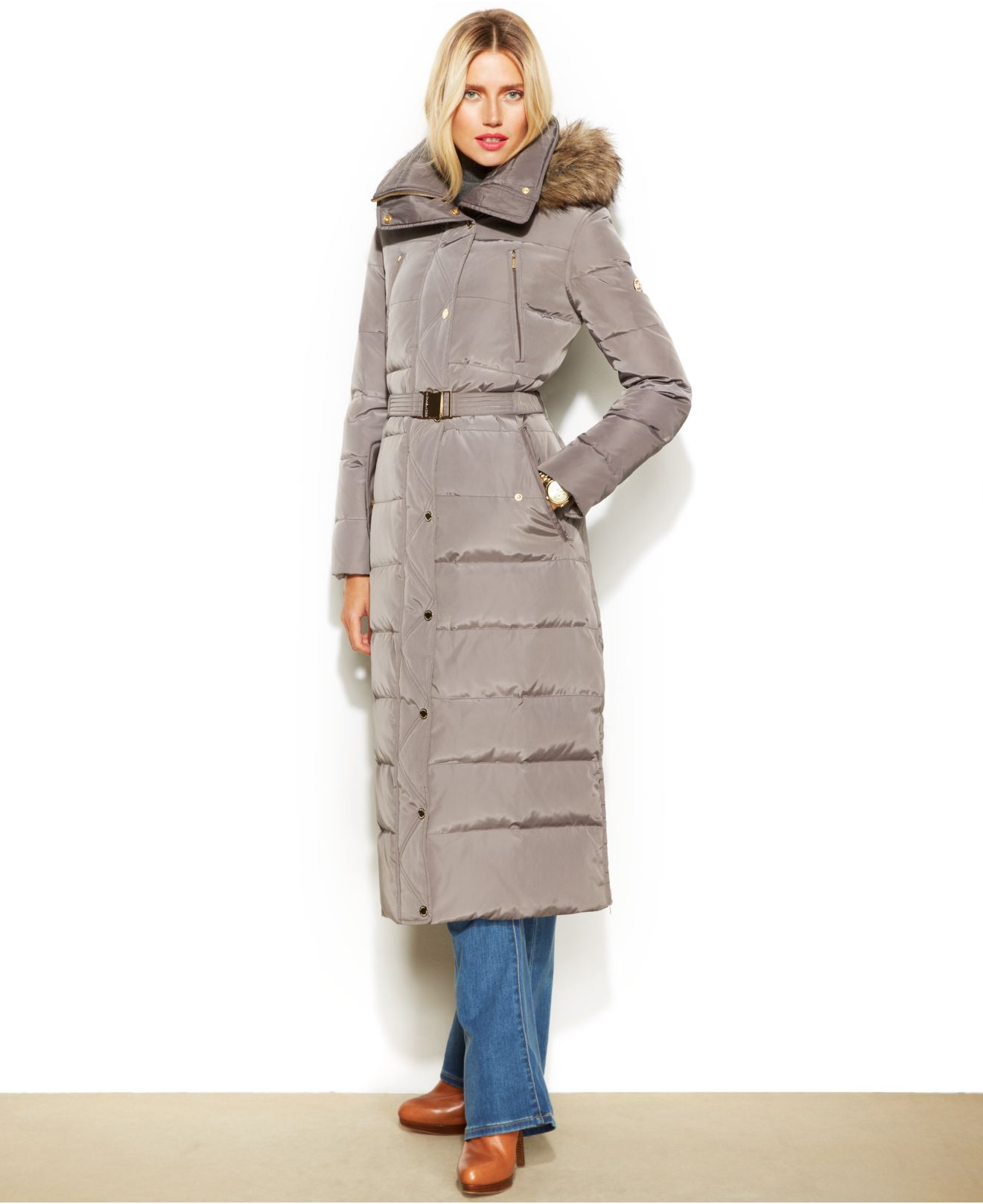 Lyst Michael Kors Michael Hooded Faux Fur Trim Belted