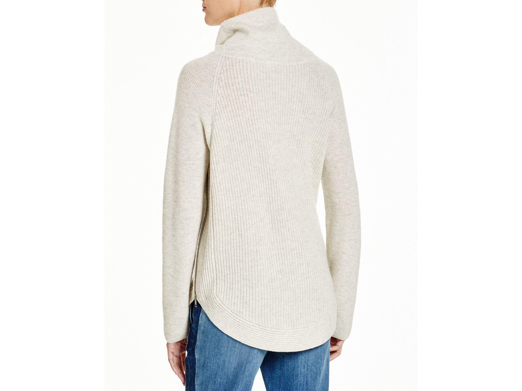 Vince Side Zip Cowl Neck Sweater In Cloud Gray Lyst