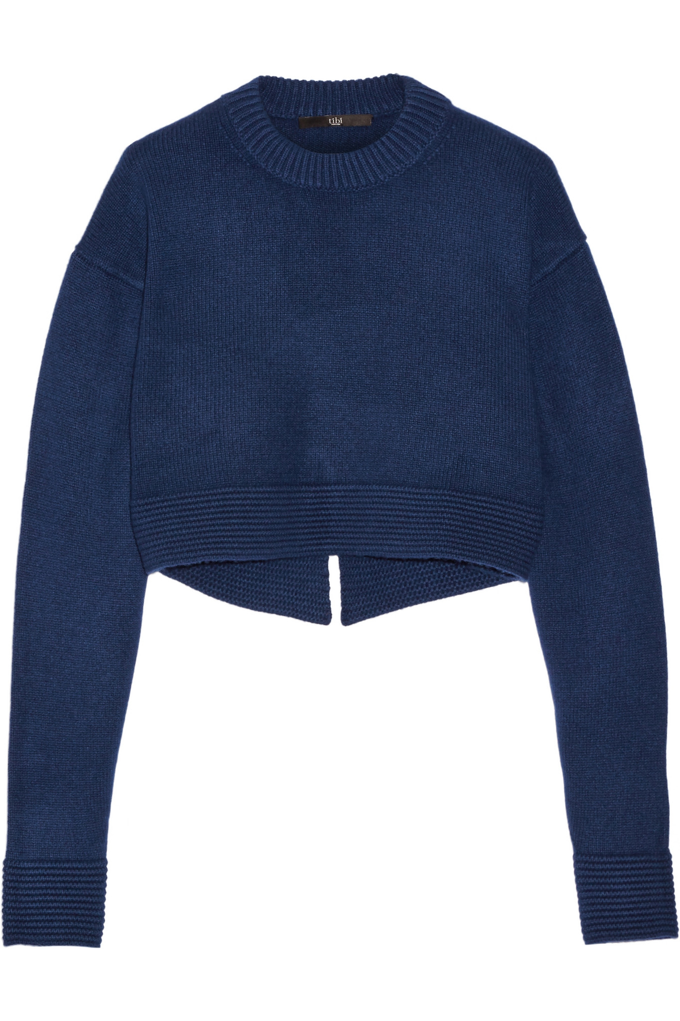 Tibi - Cropped Cashmere Sweater - Navy in Blue | Lyst