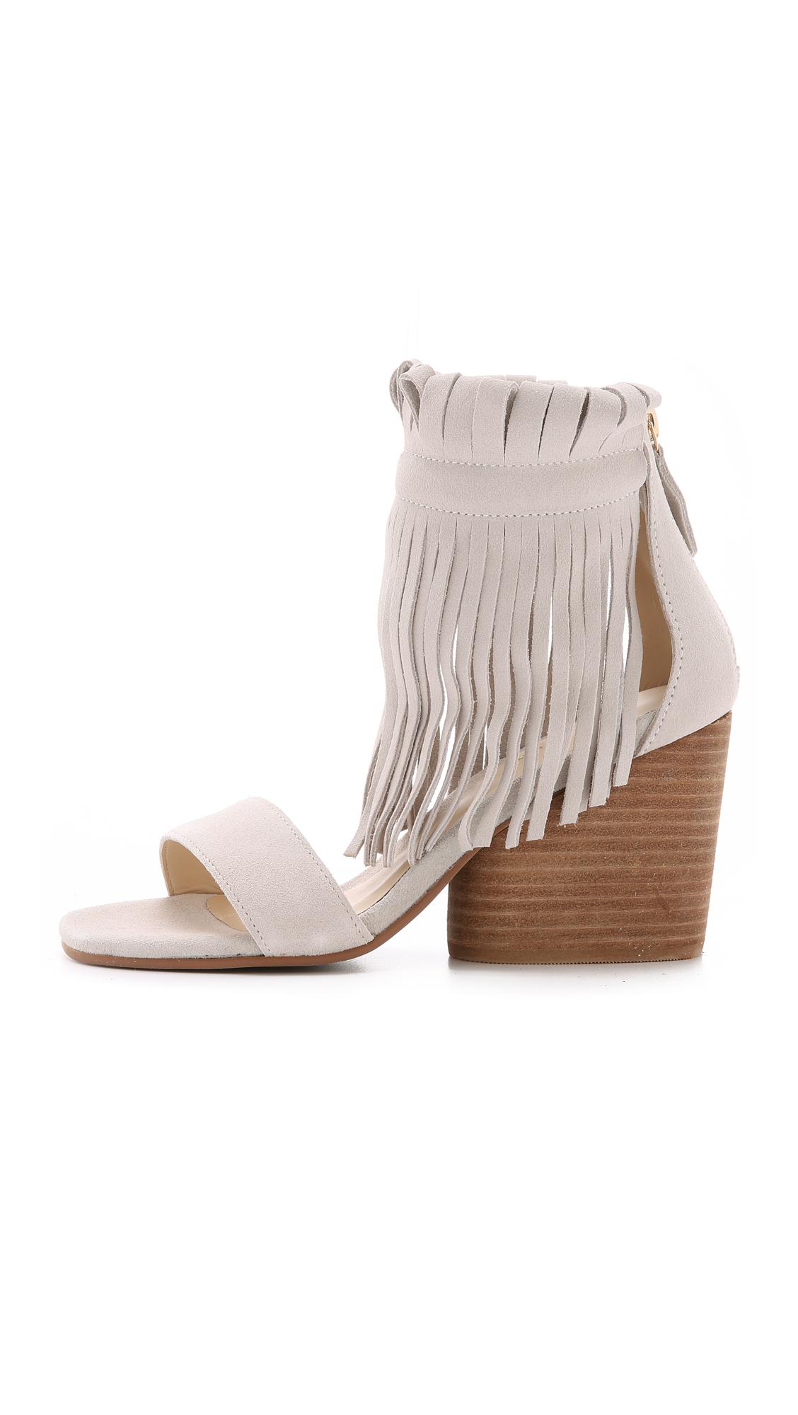 17959bda66c5 Lyst - Matiko Morgan Fringe Suede Sandals - Taupe in White