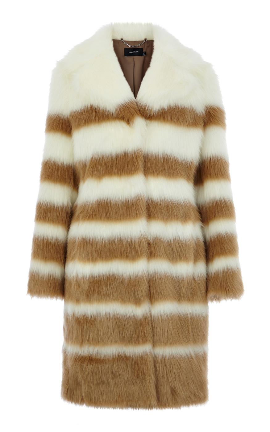 9891fe9988e8 Karen Millen Striped Faux Fur Coat in Brown - Lyst
