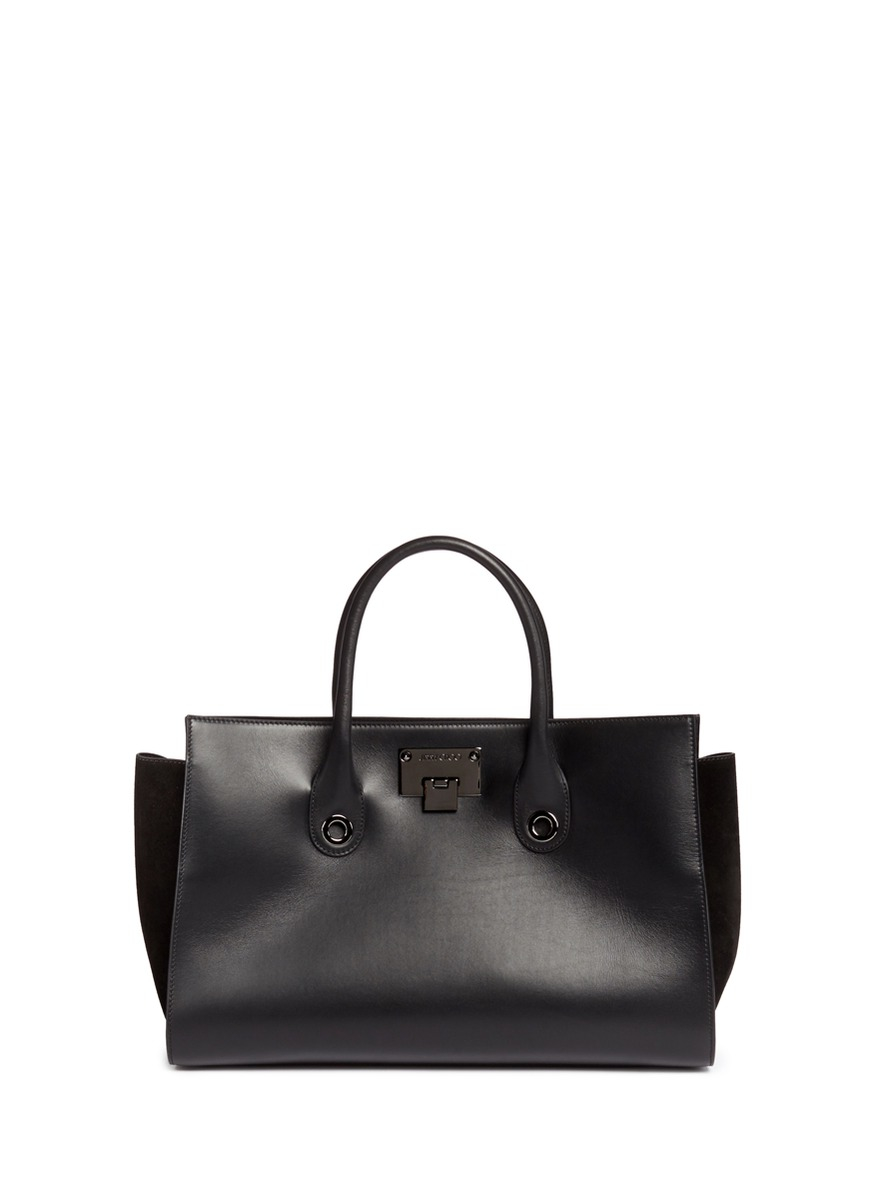 bb4c1446d56 Lyst - Jimmy Choo  riley  Leather Suede Box Tote in Black