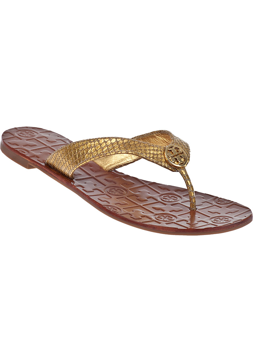 5a6499763ba9 Lyst - Tory Burch Thora-2 Flip Flop Gold Snake in Metallic