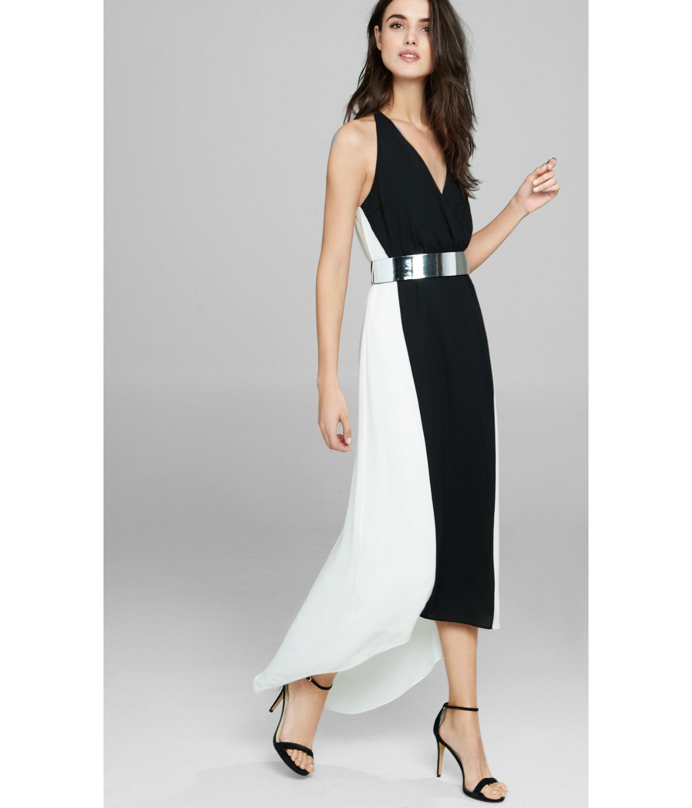 Express Sleeveless Color Block Metallic Belt Maxi Dress In
