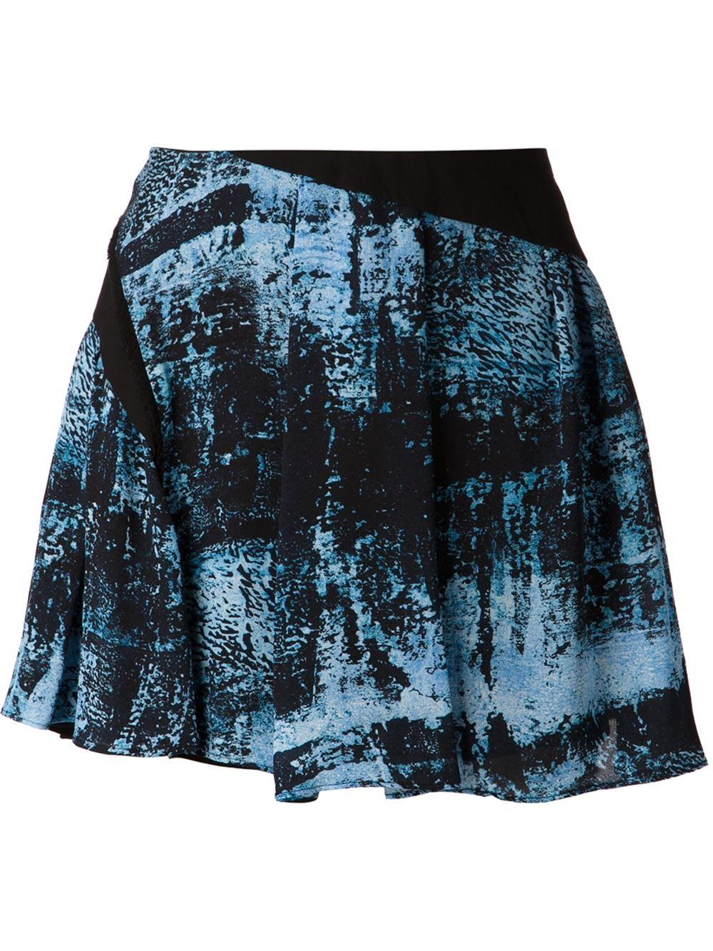 proenza schouler blotchy print skirt in blue lyst