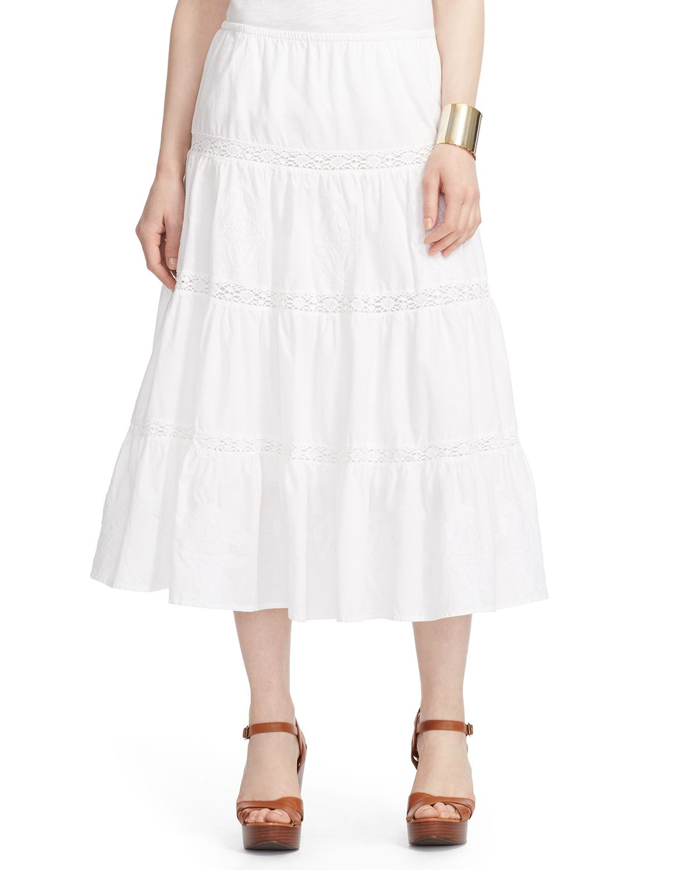 ralph tiered cotton midi skirt in white lyst