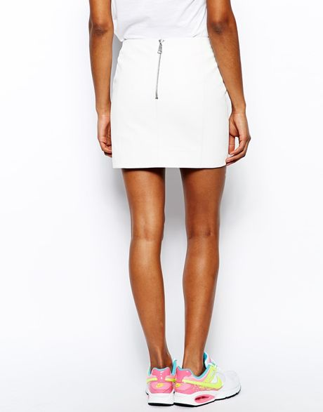 river island optic white leather mini skirt in white lyst