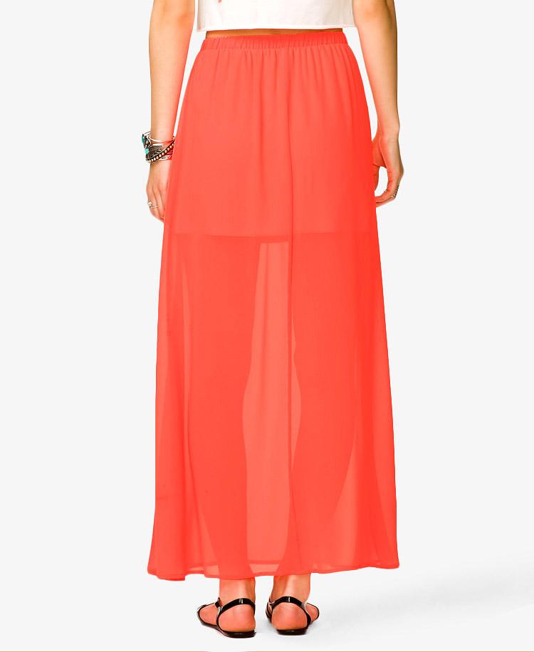 forever 21 semi sheer chiffon maxi skirt in orange neon