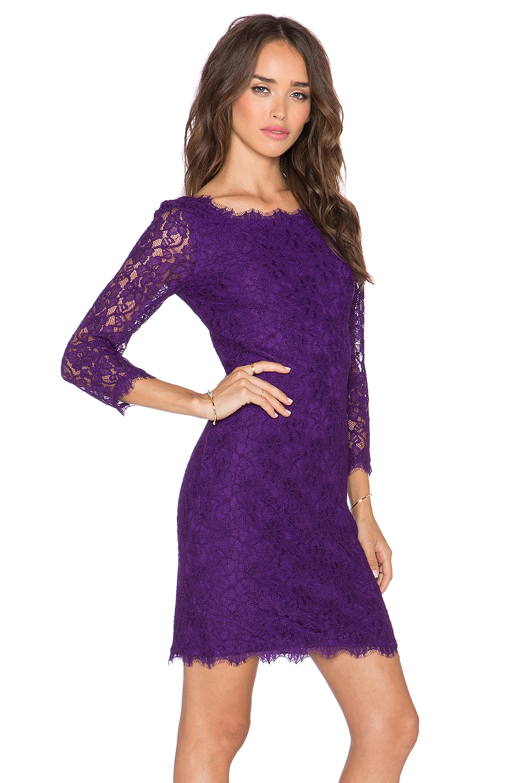 Diane Von Furstenberg Zarita Lace Sheath Dress In Purple