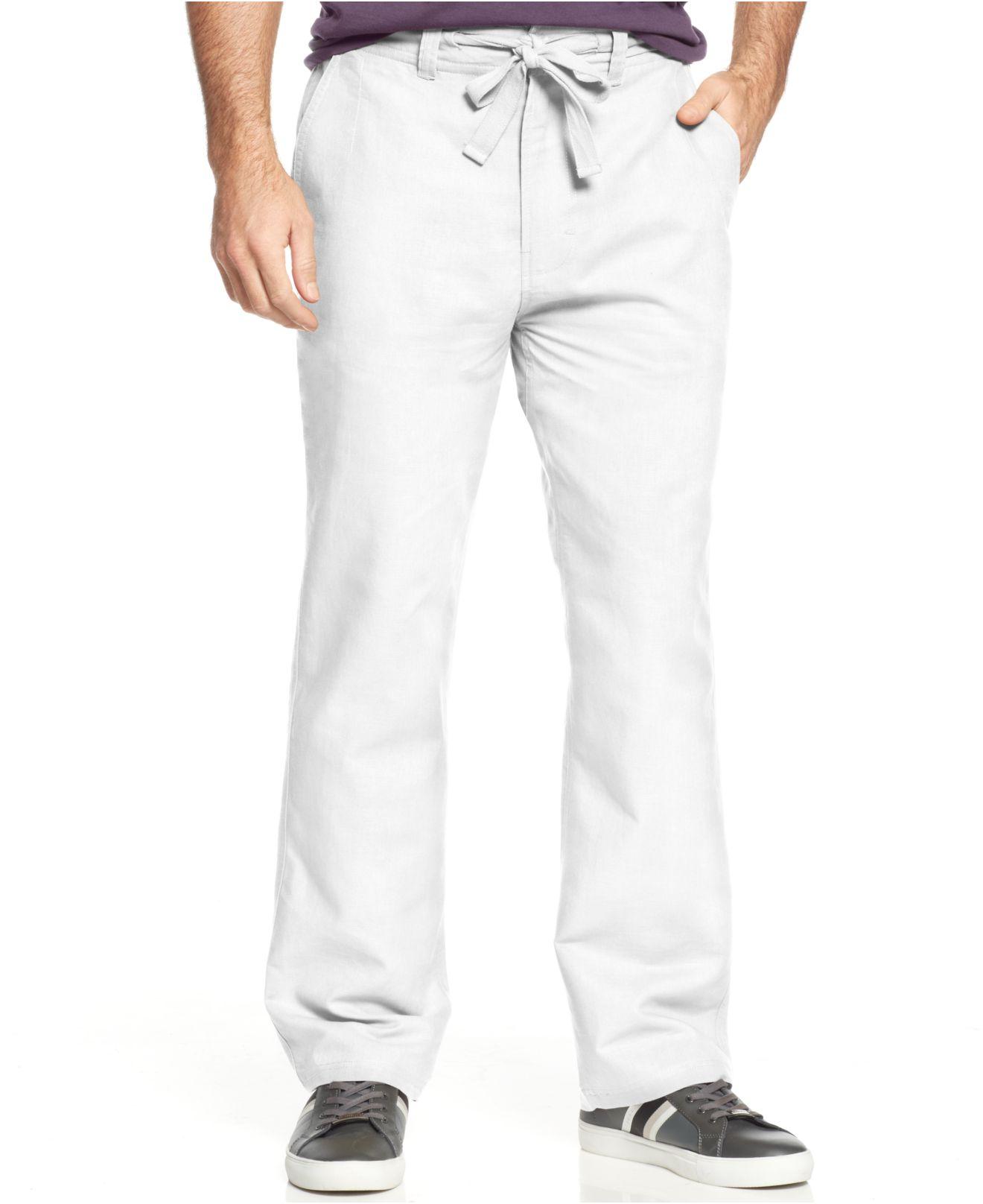 Sean john Big & Tall Linen-Blend Classic Drawcord Pants in White ...