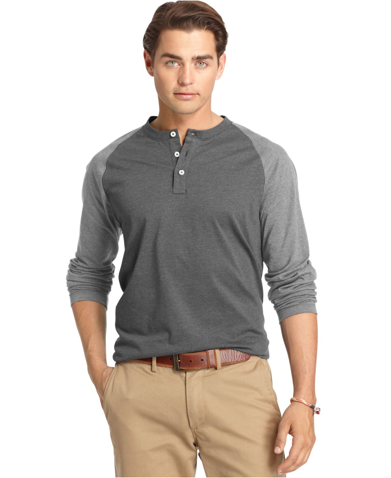 Lyst izod big and tall colorblocked long sleeve henley for Izod big and tall shirts