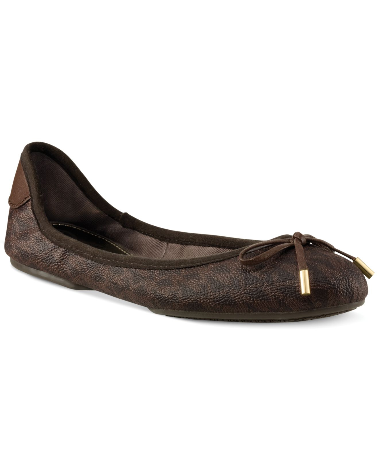 3715842e4236 Lyst - Michael Kors Michael Mk City Ballet Flats in Brown