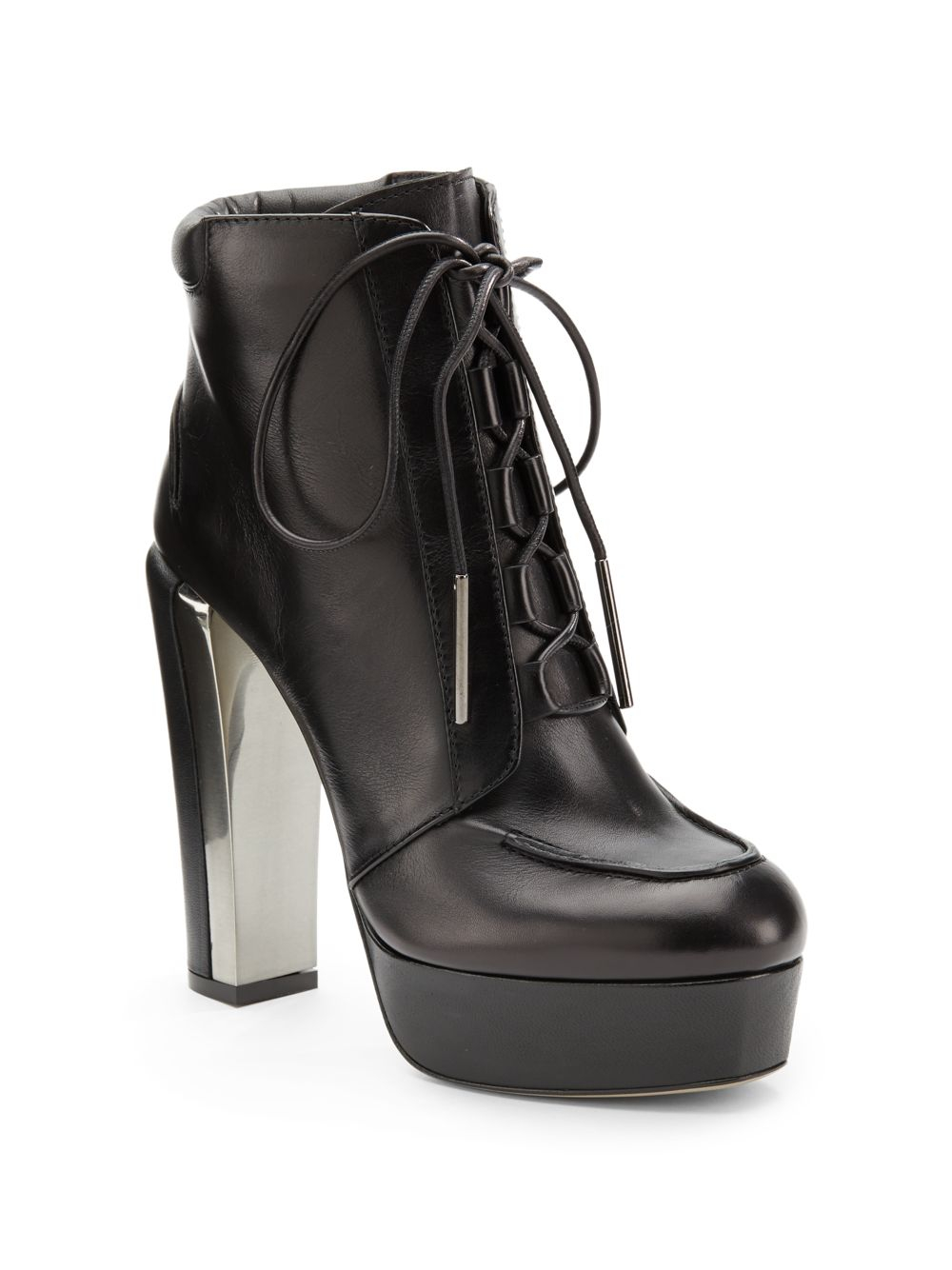 calvin klein alena leather platform ankle boots in black