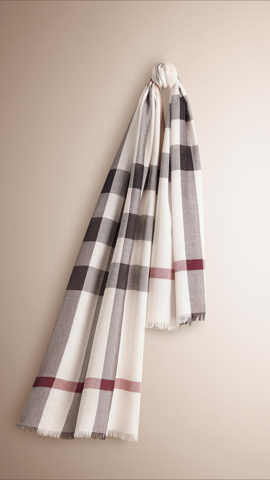 Burberry Check Silk Cashmere Scarf In White Ivory Check