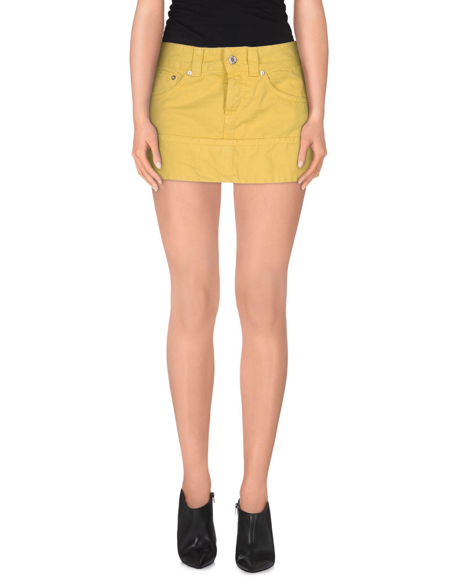 dondup denim skirt in yellow lyst