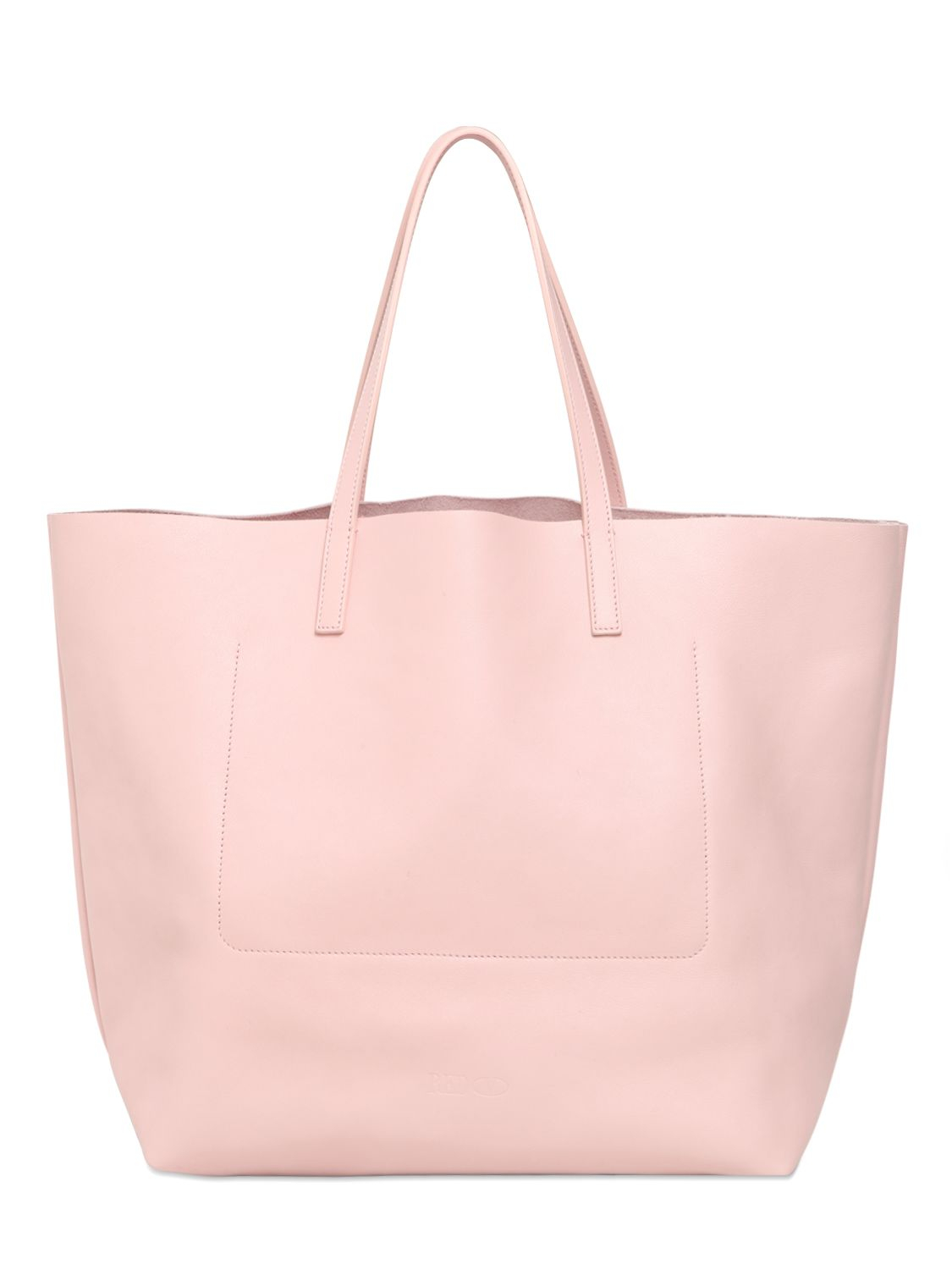 Lyst - RED Valentino Glitter Mouth Appliqué Leather Tote Bag in Pink