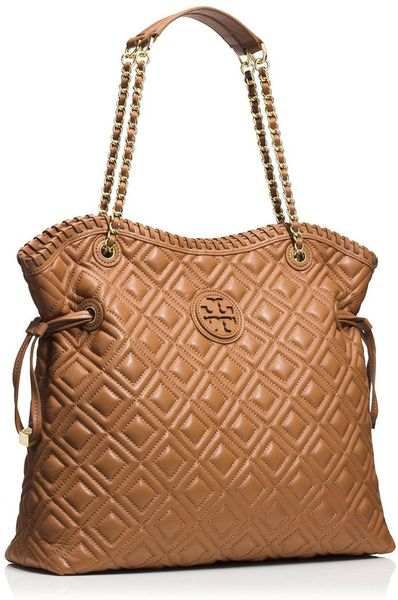 Tory Burch Marion Quilted Slouchy Tote In Brown Tigers
