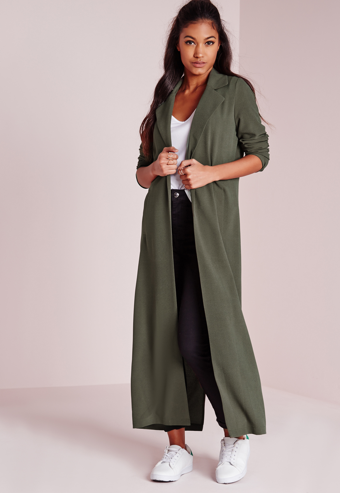 Missguided Long Sleeve Maxi Duster Coat Khaki In Natural