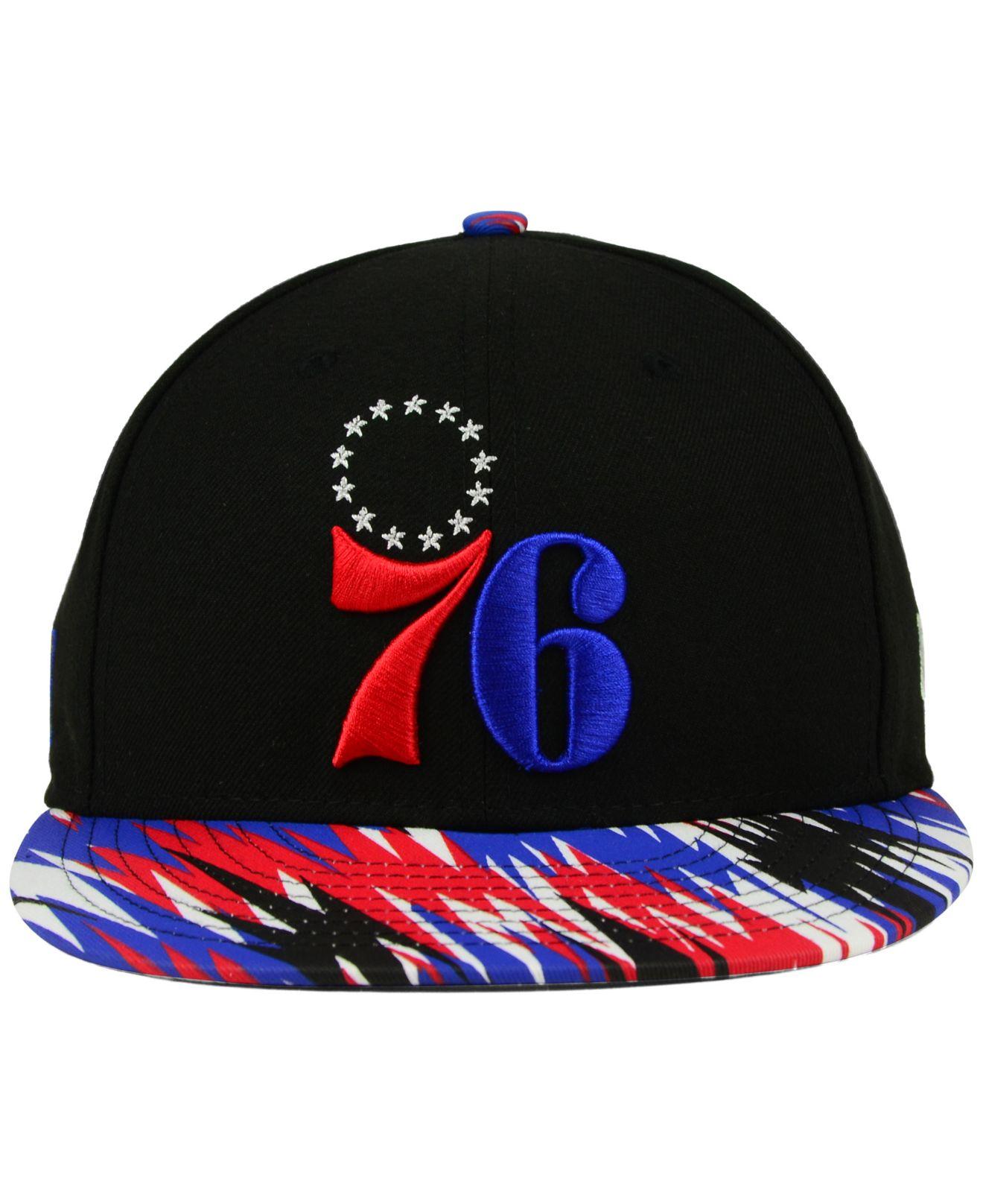 buy online 7d6db 52296 Lyst - Ktz Philadelphia 76ers Zag 9fifty Snapback Cap in Black for Men