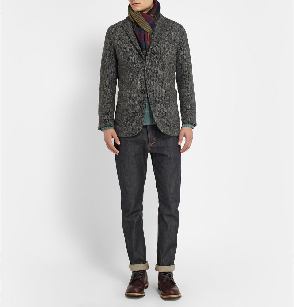 8115beb10f338 Lyst - Beams Plus Harris Tweed Herringbone Blazer in Gray for Men